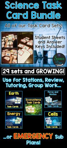 Science Task Card Bundle.  These task cards are great for sub. plans, scavenger hunts, review, rotations, stations, partner work, or independent study.