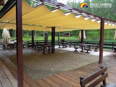 retractable #covering system made of PVC fabric can be hand-operated with two cords that allow for effortless opening and closing. #outdoor #marquees #gazebo