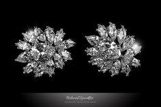 Bridal Earrings 12 Carat Cubic Zirconia Cluster by BelovedSparkles