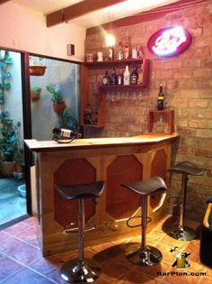 Stone Front bar built using EHBP-03 plan set   Easy Home Bar Plans ...