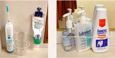 Use coat hangers and binder clips to corral toiletries.