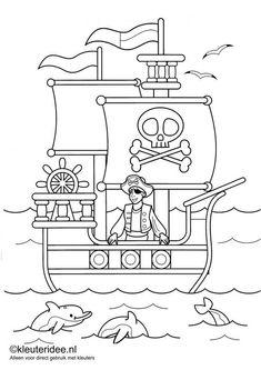 kleurplaat piraten 1, kleuteridee.nl , op de site nog veel meer piratenkleurplaten, pirates coloring free printable.