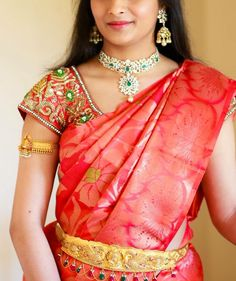 South Indian bride. Diamond Indian bridal jewelry.Temple jewelry. Jhumkis. Orange red silk kanchipuram sari.Braid with fresh flowers. Tamil bride. Telugu bride. Kannada bride. Hindu bride. Malayalee bride.Kerala bride.South Indian wedding.