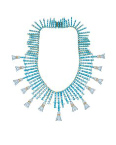 Tiffany & Co. Tassels necklace with turquoise stones and round diamonds set in yellow gold and platinum, inspired by an original design by J...