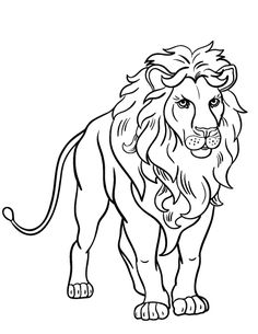 Printable lion coloring page. Free PDF download at http://coloringcafe.com/coloring-pages/lion/.