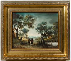 Lot 585: Jansen (Dutch School, 20th Century) Oil on Board; Undated, signed lower right, depicting Dutch figures within a landscape