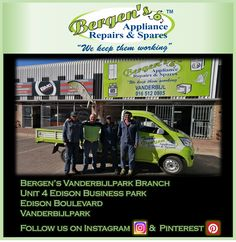 Looking for an appliance repair company in the Vanderbijl area. You'll find us at Edison Business Park.  #wekeepthemworking #bergensappliances #appliancerepairs #dishwashers #stoves #washingmachines #tumbledriers #freezers #vacuumcleaner #wefixappliances #randparkridge #teamwork #southafrica #vanderbijlpark  Follow us on Instagram and Pinterest Contact:  076 960 6467 Email:  vanderbijl@bergens.co.za