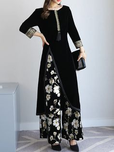 Shop Two-piece Set - Floral Long Sleeve Printed Casual Velvet Top With Pants online. Abaya Fashion, Muslim Fashion, Fashion Dresses, Modest Dresses, Casual Dresses, Hijab Evening Dress, Denim Maxi Dress, Jumpsuits For Women, Designer Dresses