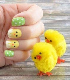 60 cute and colorful Easter nail art designs for spring 2019 3 Nail Art Designs, Easter Nail Designs, Easter Nail Art, Nail Polish Stickers, Blue Nail Polish, Nagellack Design, Polka Dot Nails, Polka Dots, Easter Colors