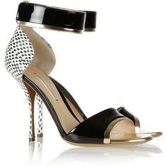 Nicholas Kirkwood Elaphe, metallic and patent-leather sandals ($825) via Polyvore