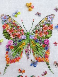 It& all a bit jazzy and in-yer-face for my taste but I love the fact that it& ribbon embroidery and made of flowers.Adapt from ribbon embroidery to broiderie perse.Spectacular >> Silk Ribbon Embroidery Kits For Sale UkAhhh >> Ribbon Embroidery Stitc^ Embroidery Designs, Ribbon Embroidery Tutorial, Silk Ribbon Embroidery, Crewel Embroidery, Hand Embroidery Patterns, Embroidery Thread, Cross Stitch Embroidery, Butterfly Embroidery, Embroidery Supplies