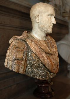 Bust of a man.) Rome, Capitoline Museums, Palazzo Nuovo, Hall of the Emperors (Musei capitolini, Palazzo Nuovo) Ancient Rome, Ancient Art, Famous Greek Sculpture, Statues, Roman Hairstyles, Roman Man, Roman Characters, Rome Antique, Roman Sculpture