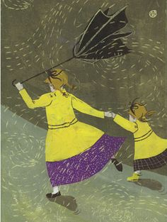 Rainy Day Print by Penelope Dullaghan Walking In The Rain, Singing In The Rain, Clouds And Rain, Umbrella Dance, Illustrations, Illustration Art, Windy Day, Rainy Days, Rainy Morning