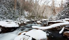 A gorgeous snow covered stream in the Smoky Mountains