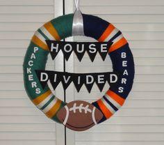 House Divided Packers vs. Bears Yarn Wreath by KimLKrafts on Etsy, $50.00