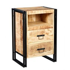 Cosmo Industrial Furniture Bedside Cabinet / Side Table is a stylish and modern piece of furniture Oak Furniture House, Hickory Furniture, Furniture Direct, Painted Furniture, Nice Furniture, Furniture Movers, Bedroom Furniture, Vintage Industrial Furniture, Industrial Chic