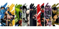 Mortal Kombat Ninja's: (Left to Right) Sub-Zero, Scorpion, Reptile, Smoke, Noob Saibot, Ermac, Rain, Tremor.