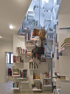 Stairwell bookshelves use every inch of space -- and a bosun chair to access them.