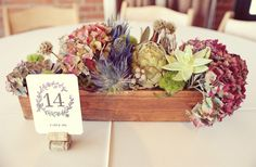 LOVE the trestle box with hydrangeas and succulents & the wine cork table # holder - could be a great mix of Italian/European/English... Add in some champagne grapes & ivy
