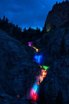 Seven Falls, Colorado Springs, CO (The colors are lights shining on the 7 waterfalls) -- by *Hecatonchires-00 on deviantART