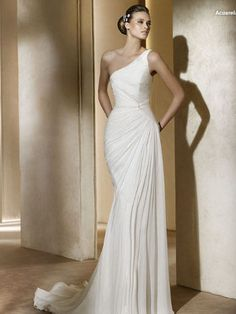 Sheath Scoop Neckline Single Shoulder Sweep Train Chiffon Wedding Dress