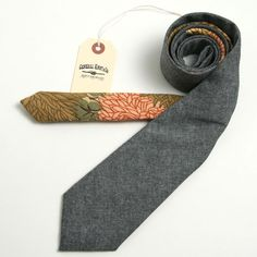 Black Chambray & 1950s Arthouse Mums Necktie - vintage ties handmade in the United States