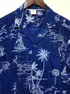 bcc5291015e Vintage blue Aloha shirt Hawaiian islands map palm tree print