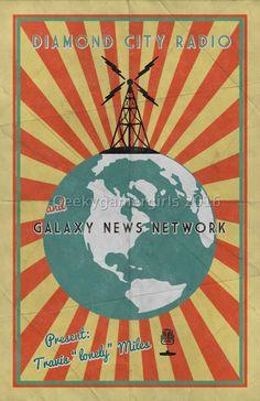 Fallout Poster | Diamond City Radio poster | Vintage look print | Videogame art | Galaxy News Network poster | geek gift Diamond City Radio and