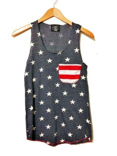 American Flag Tank Top //Pocket Tank// American Flag Clothing // Red White and Blue // Lady Liberty via Etsy