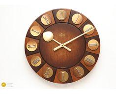 Mid Century JUNGHANS Wall Clock - 60s Danish Modern Germany mcm Atomic Space Age Wood - Wanduhr