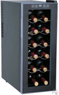 """Sunpentown WC1271 10"""" Freestanding Wine Cooler with 12-Bottle Capacity, 5 Slide-Out Chrome Shelves, ThermoElectric Technology, No Compressor..."""