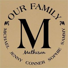 Custom Our Family Monogram Circle Vinyl Lettering Wall Decal Great Wedding Gift. $16.99, via Etsy.