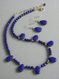 Lapis Lazuli necklace and earrings.