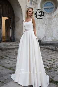 Simple 2018 White Wedding Dresses A line Square Neckline Modest Satin Bridal Gowns with Pockets Wedding Dresses With Straps, White Wedding Dresses, Elegant Dresses, Bridal Dresses, Wedding Gowns, Classic Wedding Dress, Casual Wedding, Wedding Bride, Trendy Wedding