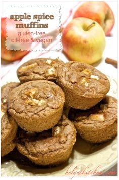 apple-spice muffins, vegan apple spice muffins, oil-free apple spice muffins