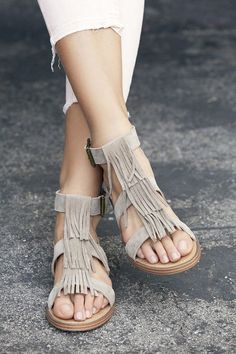 Suede flat sandals with layers of fun fringe   Sole Society Fauna