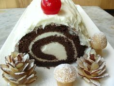 #gluten-free Buche de Noel recipe from King Arthur Flour, love the almond slice pine cones