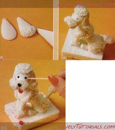 Afbeeldingsresultaat voor how to make a fondant labrador puppy face Fondant Dog, Fondant Animals, Fondant Toppers, Fondant Cakes, Cupcake Cakes, Cupcakes, Cake Decorating Techniques, Cake Decorating Tutorials, Cookie Decorating