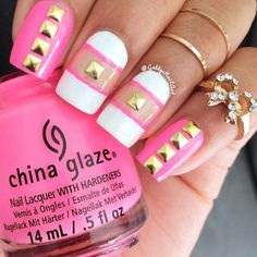 Pink and White Nail Design with Gold Studs