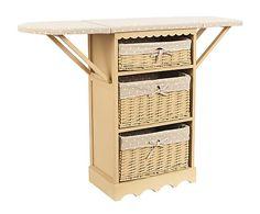 Mueble planchador de madera de paulonia y mimbre - blanco y marrón