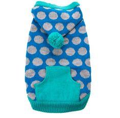 Dog Sweater Hoodie Blue Gray Polka Dot Fashion Dog Clothing Medium
