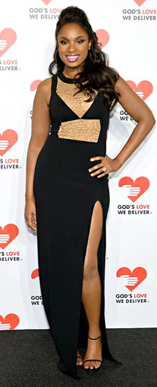 Jennifer Hudson wore a black Michael Kors gown with lace illusion panels and a thigh-high slit to the 2013 Golden Heart Awards Celebration.