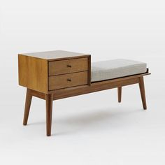 Hit the bench. Our Mid-Century Storage Bench is crafted from FSC®-certified wood, adding modern-day sustainability to its timeless style. With two handy drawers. Entryway Storage, Entryway Furniture, Furniture Decor, Entryway Organization, Furniture Online, Luxury Furniture, Bedroom Furniture, Vintage Furniture Design, Teen Furniture