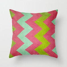 16 x 16 Cocktails With Lilly   Chevron Pillow  by artbycmcdonald, $30.00