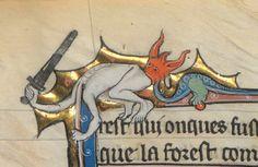 """Predicament,"" detail from medieval manuscript Keskiaika, Surrealismi, Roman, Maalaus"