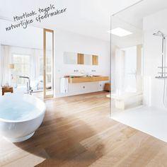 #Houtlook #tegels zijn een natuurlijke sfeermaker in de #badkamer en bieden je meerdere voordelen.Klik op de afbeelding en lees meer over houtlook tegels.