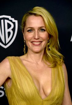 Gillian Anderson attends InStyle and Warner Bros. Annual Golden Globe Awards Post-Party at The Beverly Hilton Hotel on January 2016 in Beverly Hills, California Beautiful Celebrities, Beautiful Actresses, Beautiful Women, Gillian Anderson Book, Canadian Actresses, Actors & Actresses, Female Actresses, Manequin, Ta Tas