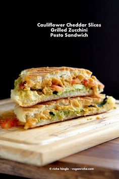 Cauliflower Cheddar, Pesto Zucchini Grilled Cheese Sandwich. Vegan Nut-free Recipe