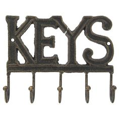Keys Wall Hook | Shop Hobby Lobby- simple but is $8.99; doesn't say if hardware is included--purchased pink lightswitch plate i have @ HL-no hardware