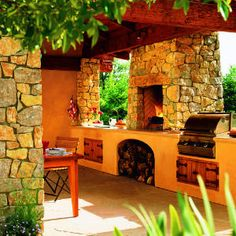 Rustic outdoor living space complete with kitchen and fireplace. Outdoor Areas, Outdoor Rooms, Outdoor Living, Outdoor Decor, Outdoor Kitchens, Rustic Outdoor, Outdoor Parties, Pergola, Outdoor Kitchen Design